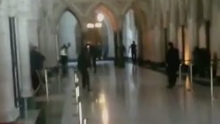 Video inside Canada Parliament during shooting