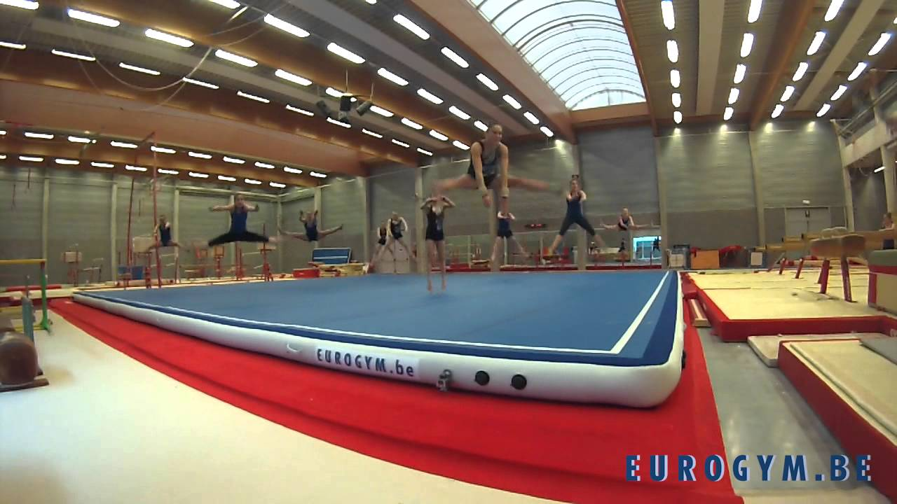 Worlds First Inflatable Gymnastic Air Floor Youtube