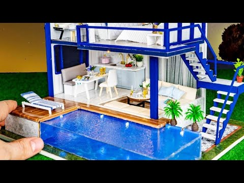 DIY Miniature Modern Party Home with  Swimming Pool  - Time Apartment