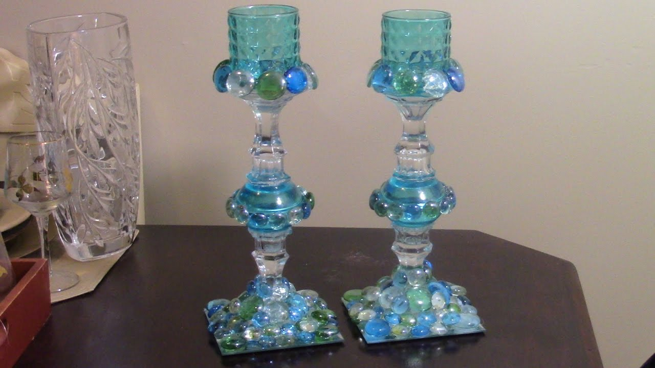 DIY Dollar Tree Inspired Gem Candle Holders - YouTube