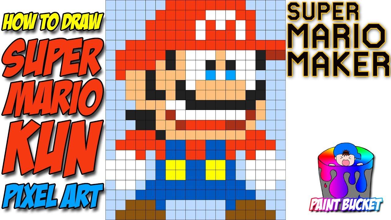 How To Draw Super Mario Kun Super Mario Maker 8 Bit Pixel Art Speed Drawing