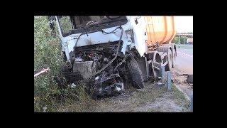 Грузовик МАЗ протаранил припаркованый КРАЗ. Водитель погиб на месте