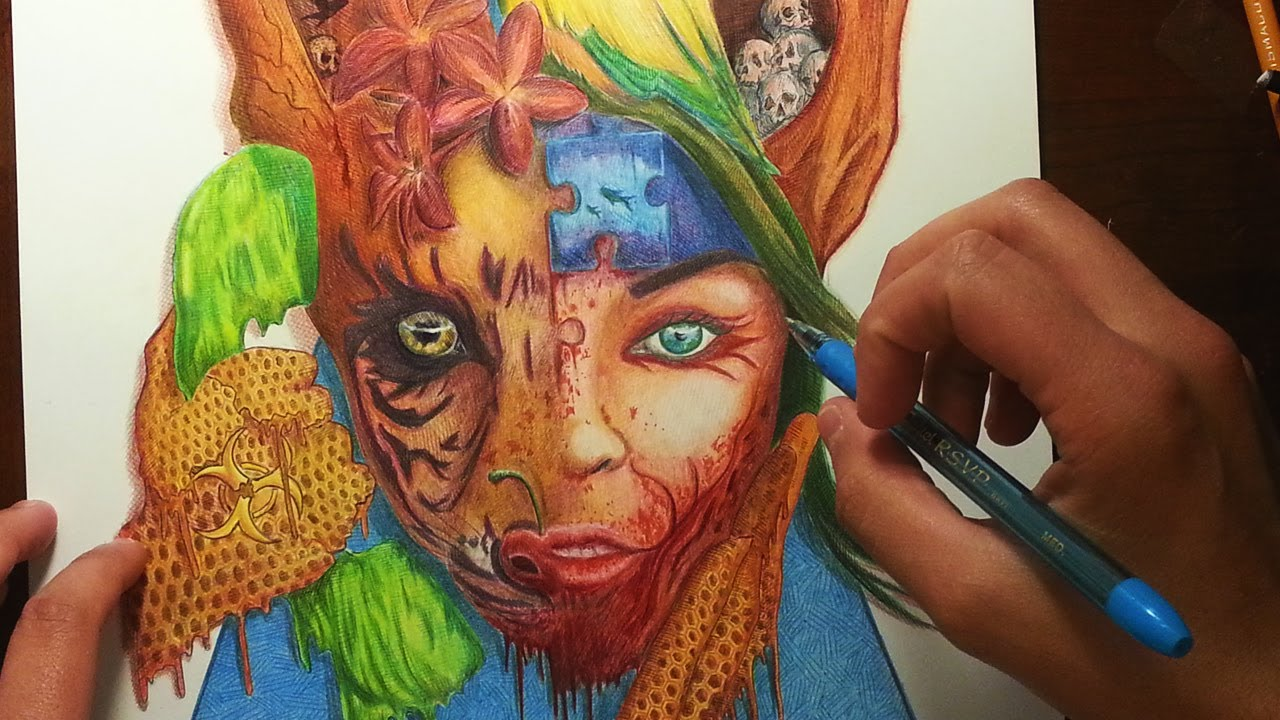 Color drawing pens for artists -  Toxic Surreal Abstract Drawing Ballpoint Pen Color Pencils Youtube