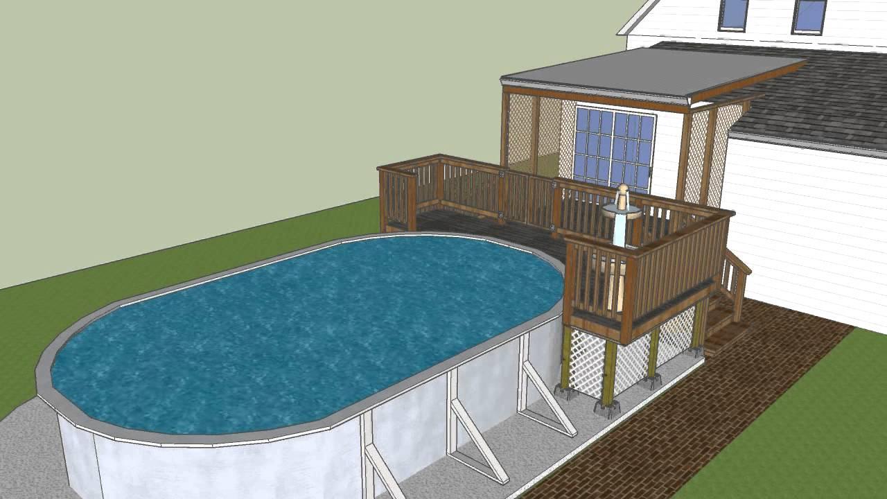 Deck addition designed in google sketchup youtube for Pool design sketchup