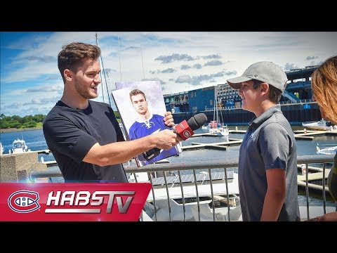 Jonathan Drouin interviews fans in Old Montreal