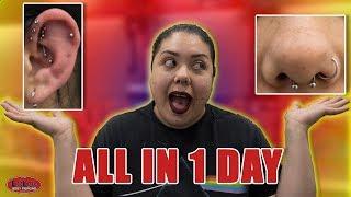 6 PIERCINGS IN 1 DAY!! (Triple Forward Helix, Helix, Septum, Conch)