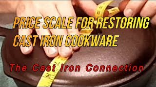 Price Scale for Cast Iron Cookware Restoration