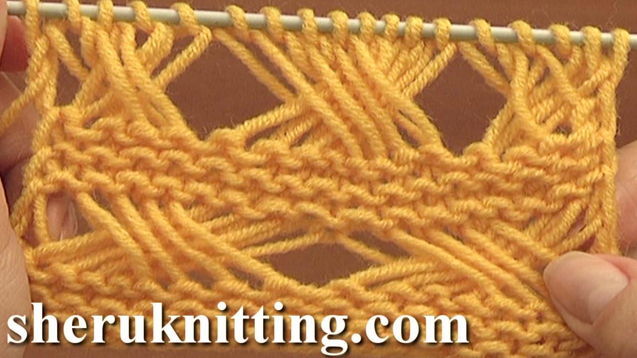 Knitting Cross Stitch Pattern : Cross Stitch Knitting Pattern Tutorial 7 Long Loops Extended Stitches - YouTube