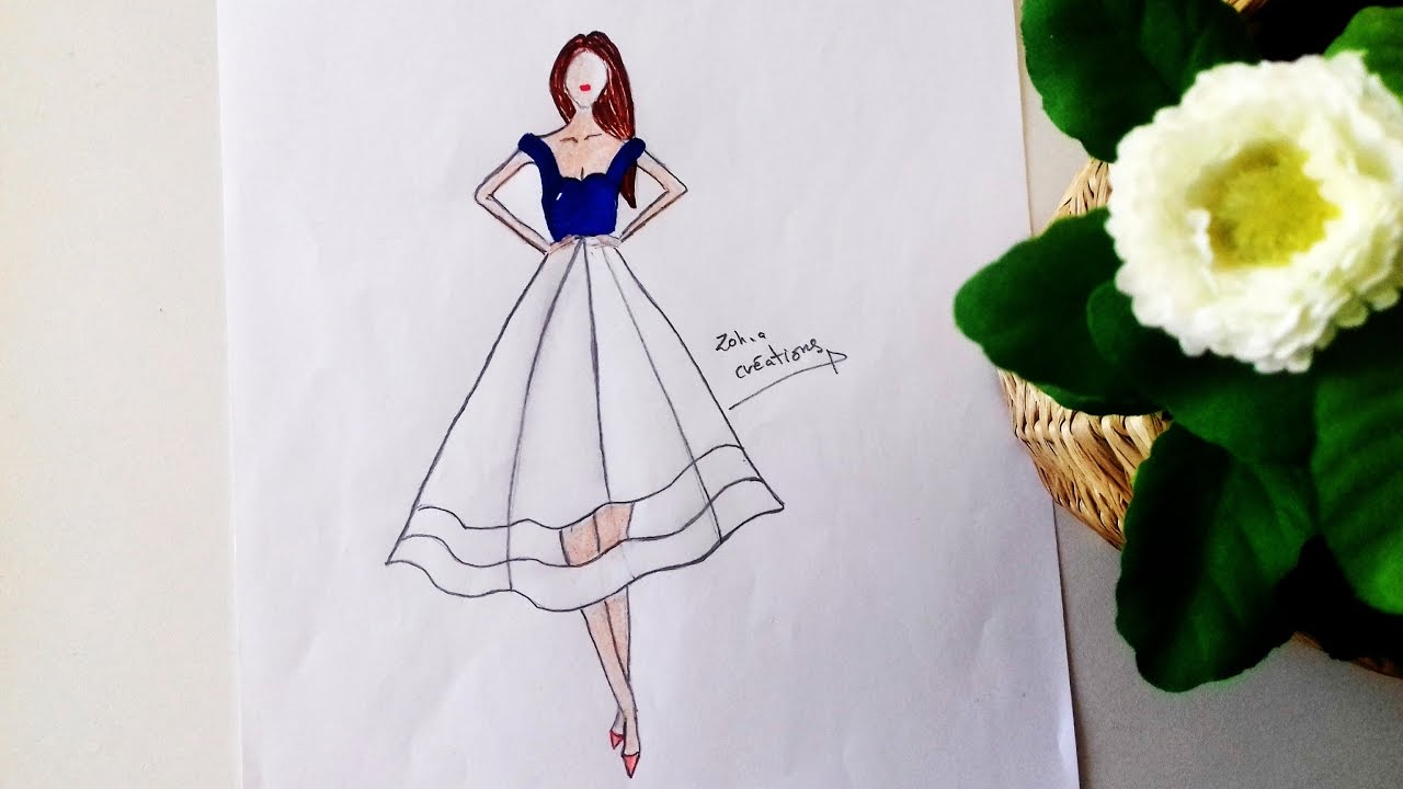 White dress drawing - Blue White Dress Drawing