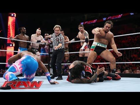 Reigns, Ambrose & The Usos Vs. Sheamus, Barrett, Rusev, Del Rio & The New Day: Raw – 30. Nov. 2015