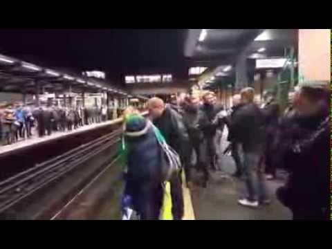 Tottenham Hotspur & Chelsea Fans Clash on Train Station Platform (Fight Breaks Out)