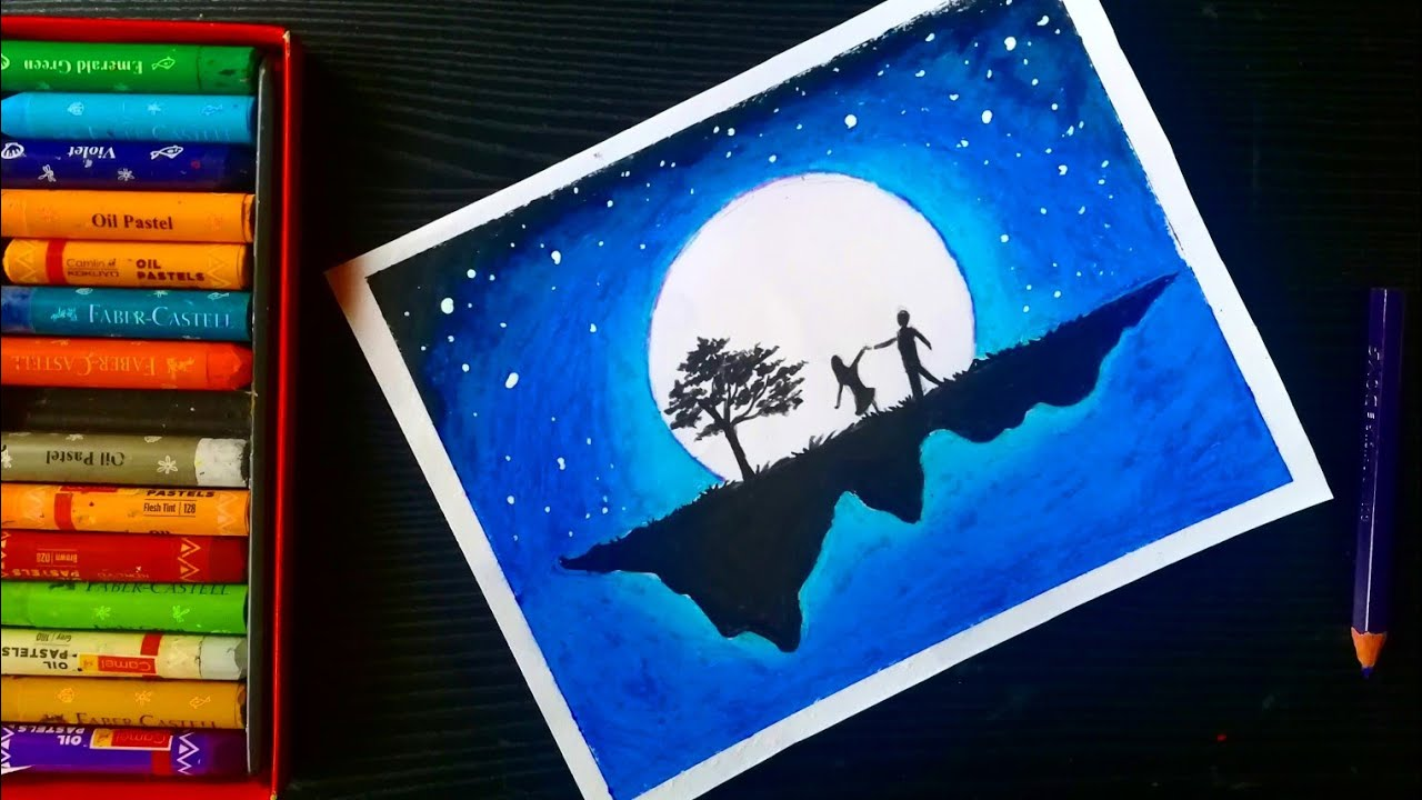 Moonlight Couples Oil Pastel Drawing Couples Dream Scenery Oil