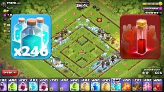 Clash of Clans - Epic Attack using x246 Clone and 1 Skeleton Spell without troops ||GamePlay||