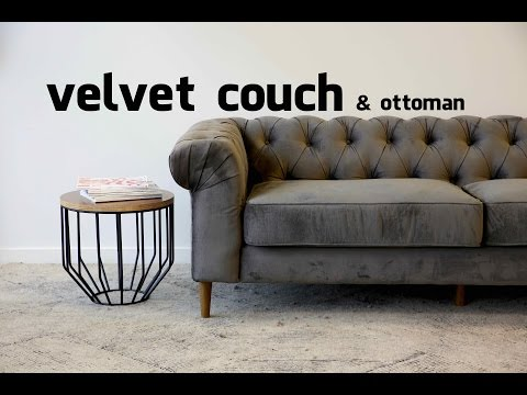Button Velvet Couch and Ottoman