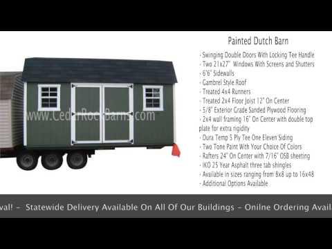 Painted Dutch Barn Backyard Building