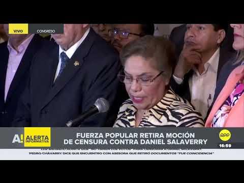 Fuerza Popular retira moción de censura contra Daniel Salaverry