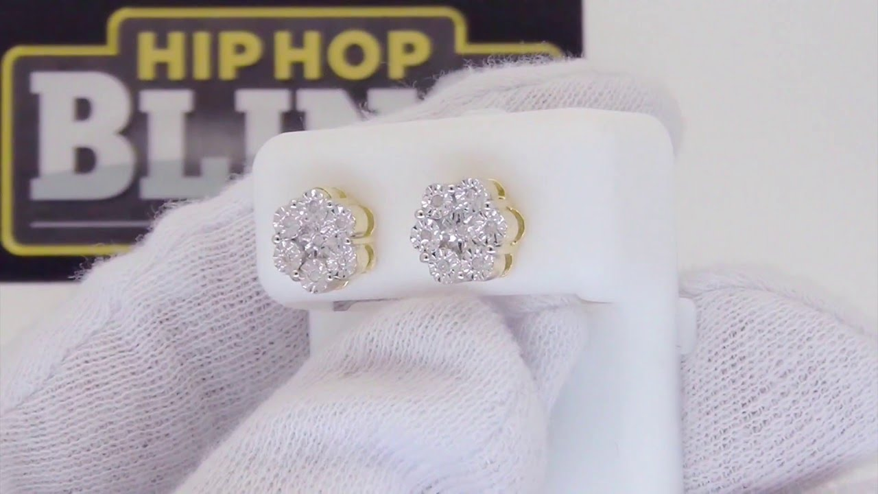 Genuine Diamond Cer Fanook Bling Earrings Hip Hop Jewelry