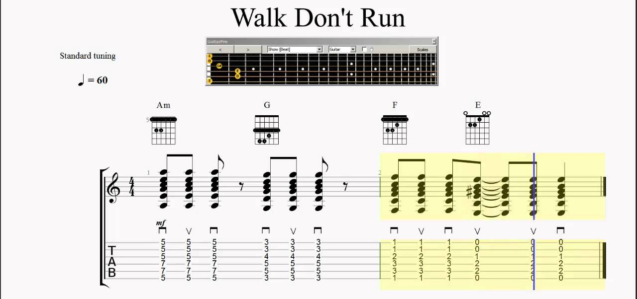 Chord Practice - Barre Chords - Walk Don\'t run - Slow to Fast - YouTube