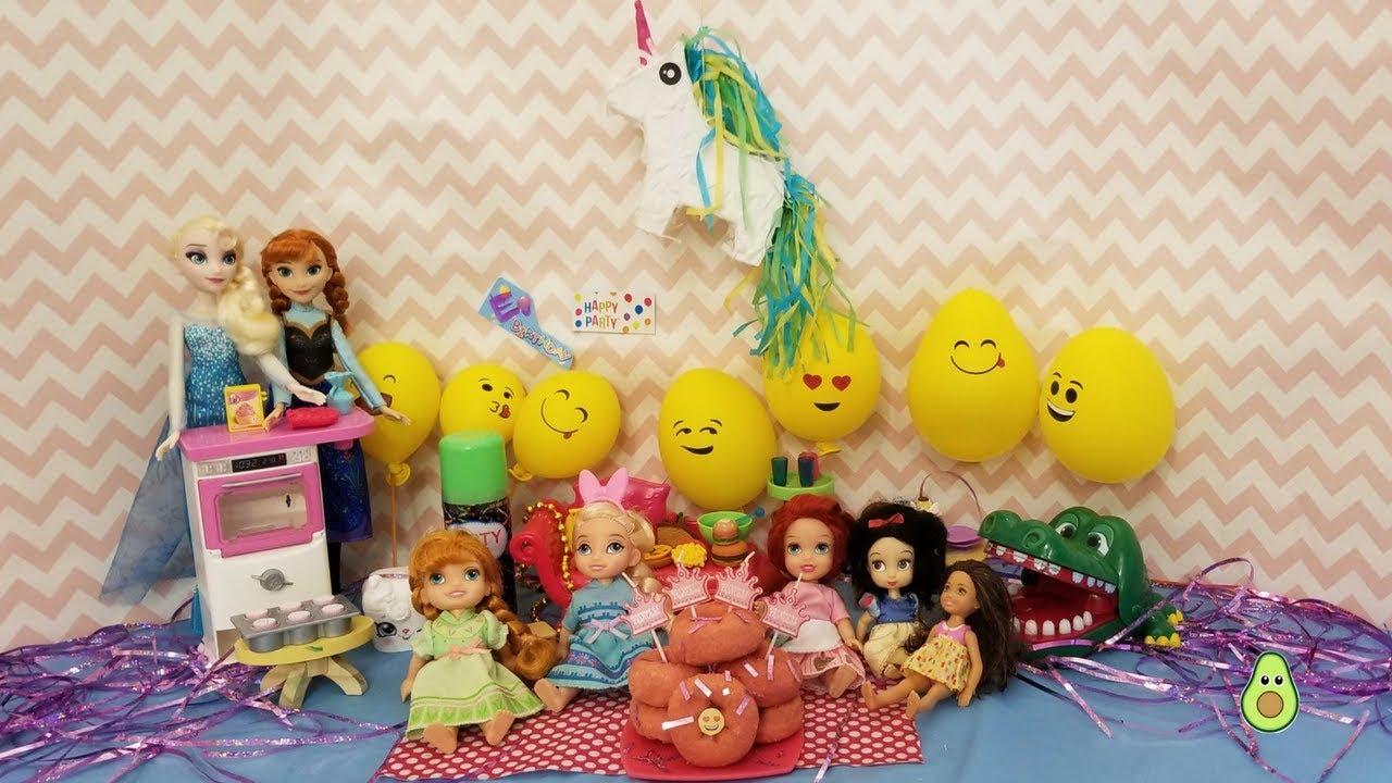 Elsa BIRTHDAY Party Unicorn Emoji Donut Cake Games Pinata