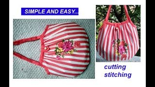 DIY cutting stitching of shopping bag in hindi / handmade handbag / shoulder bag / market bag
