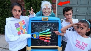 Kids pretend play Greedy Granny In Real Life with Surprise Toys