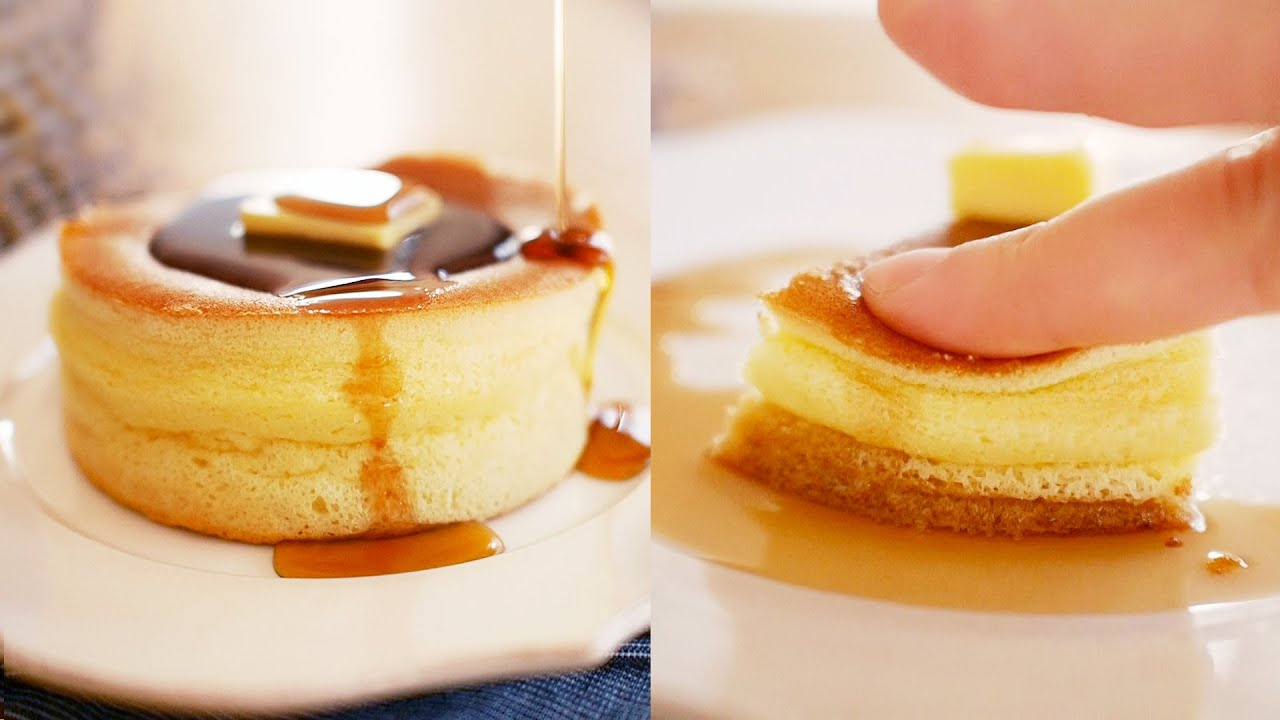 일본 열풍 도톰한 팬케이크 만들기! 노오븐! (퐁신퐁신 손으로 눌러봤어요!) | 달미인 Thick ...