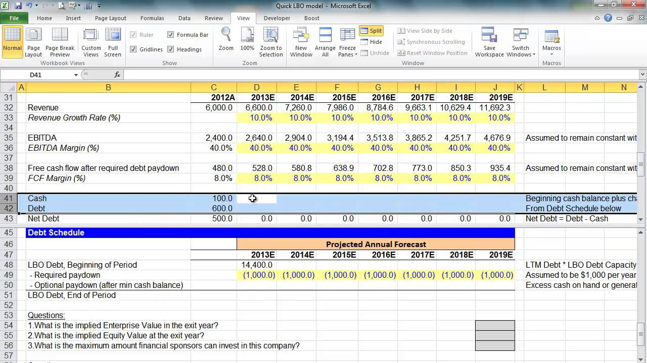 financial modeling quick lesson simple lbo model 2 of 3 With simple lbo model template