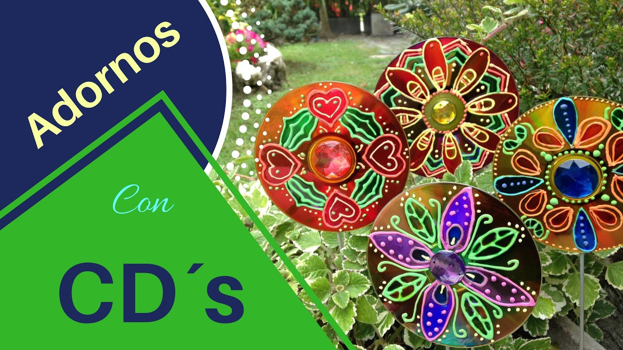 Como hacer adornos de jardin reciclando cd s youtube for Adornos para decorar un jardin