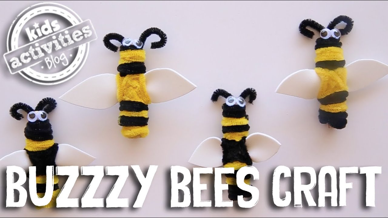 Craft bumble bee - Buzzzy Bees Craft With Clothespegs And Pipe Cleaners