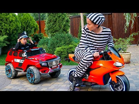 The Women take Wheel from the car  Funny Tema ride on Power Wheel Police car to catch women