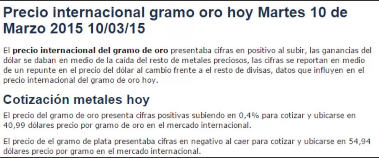 Precio Del Gramo De Oro Hoy Martes 10 Marzo 2017 03 15