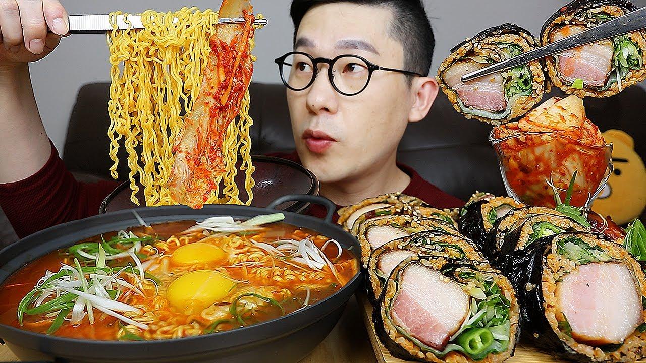 김밥집 창업완료😎~! 🔥열라면과 통삼겹김밥 강력추천 메뉴 요리 먹방 Spicy Yeol ramyeon & Pork belly Gimbap MUKBANG