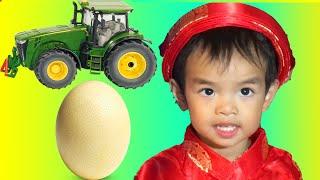 Surprise Egg Opening John Deere Tractor, Monster Jam Truck, and Talking Dog