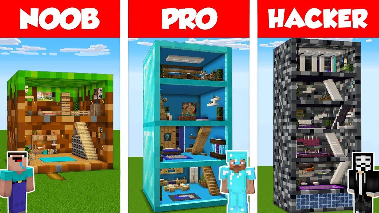 Download Minecraft NOOB vs PRO vs HACKER: BLOCK HOUSE BUILD CHALLENGE in Minecraft / Animation