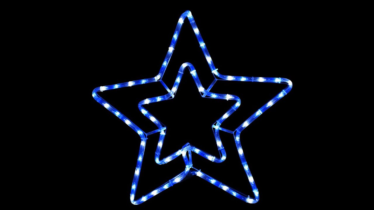Blue cool white led double star rope light silhouette 56cm youtube blue cool white led double star rope light silhouette 56cm aloadofball Choice Image