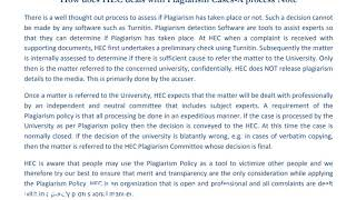 How does HEC deals with Plagiarism Cases