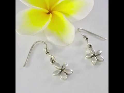 Silver Frangipani Earrings