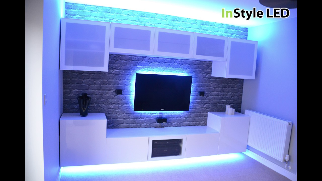 TV in alcove lit by RGBW LEDs - YouTube