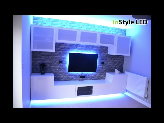 TV in alcove lit by RGBW LEDs