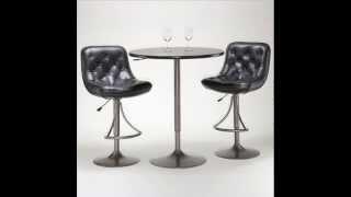 Adjustable Aspen Swivel Bar Stool; Counter Height Bar Stool, Faux Leather Bar Stools