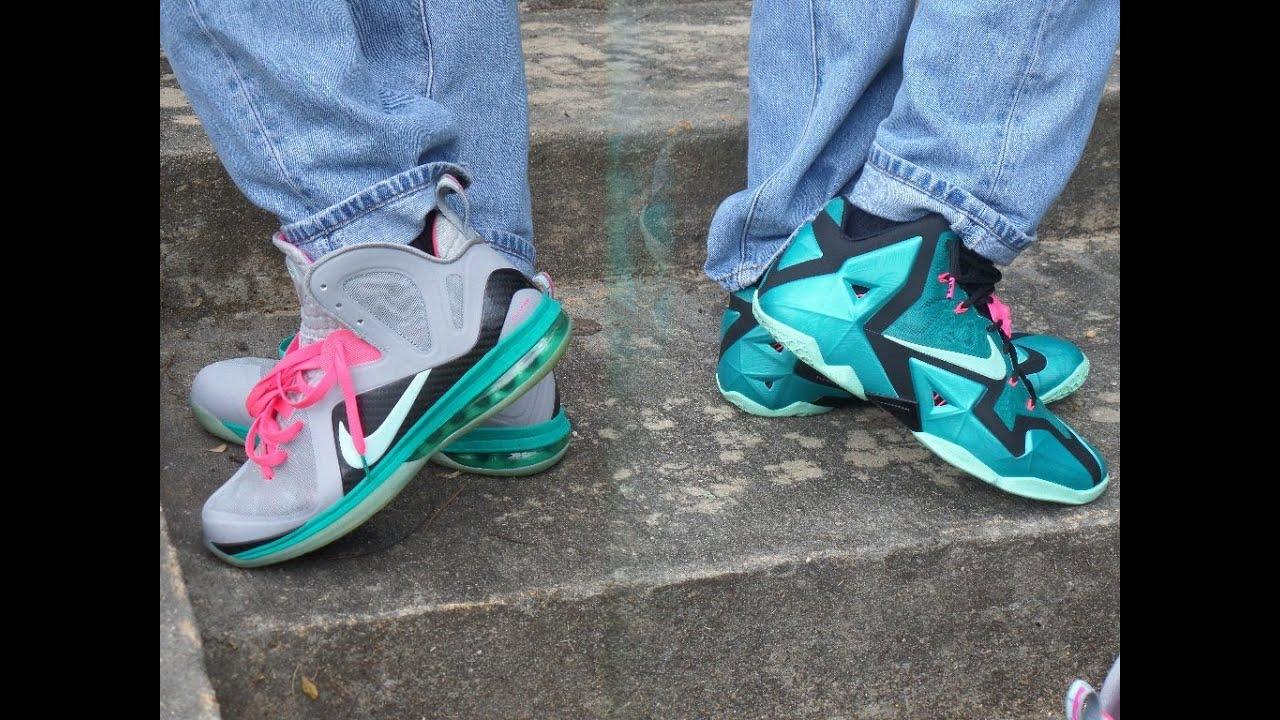 3df18047eda Lebron 11 and 9 South Beach review  on feet+ feat fit 1080HD - YouTube