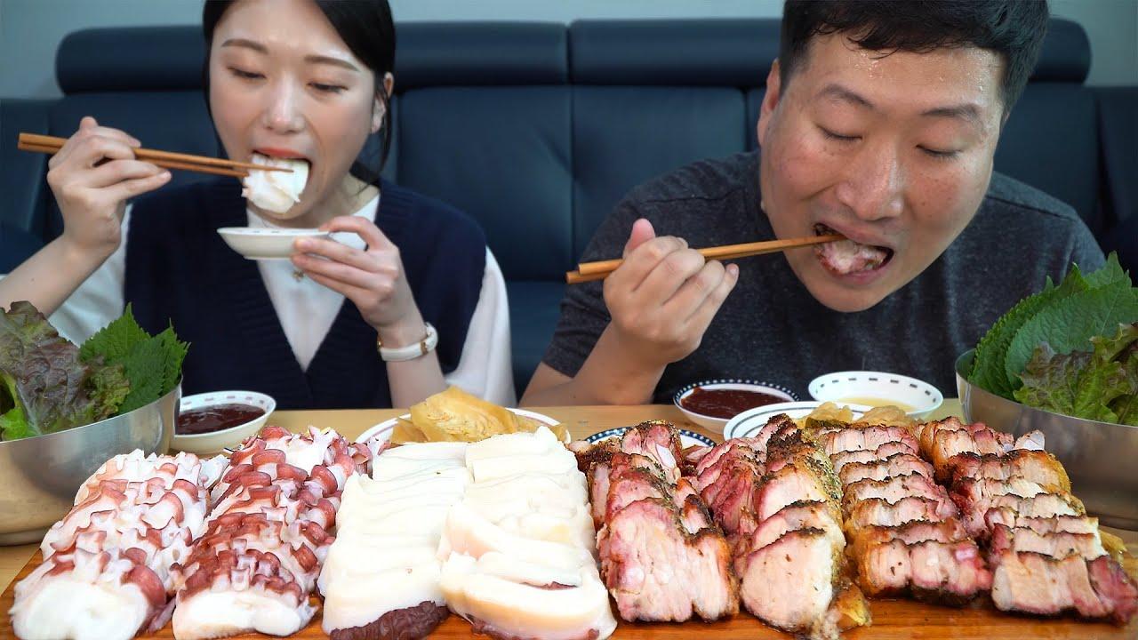 새로운 게스트 아미님과 문어 숙회, 항아리 삼겹살, 김치 삼합 먹방! (Parboiled Octopus with Ami) 요리&먹방! - Mukbang eating show