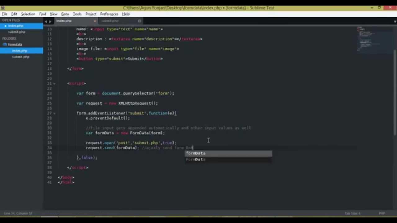 javascript formdata object