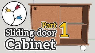 I build a simple cabinet with sliding doors. Video 1 of 2 shows step-by-step how I made it: Cutting up the wood, doing the dowel-