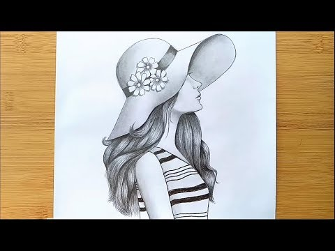 how-to-draw-a-girl-with-hat-for-beginners---step-by-step-||-pencil-sketch