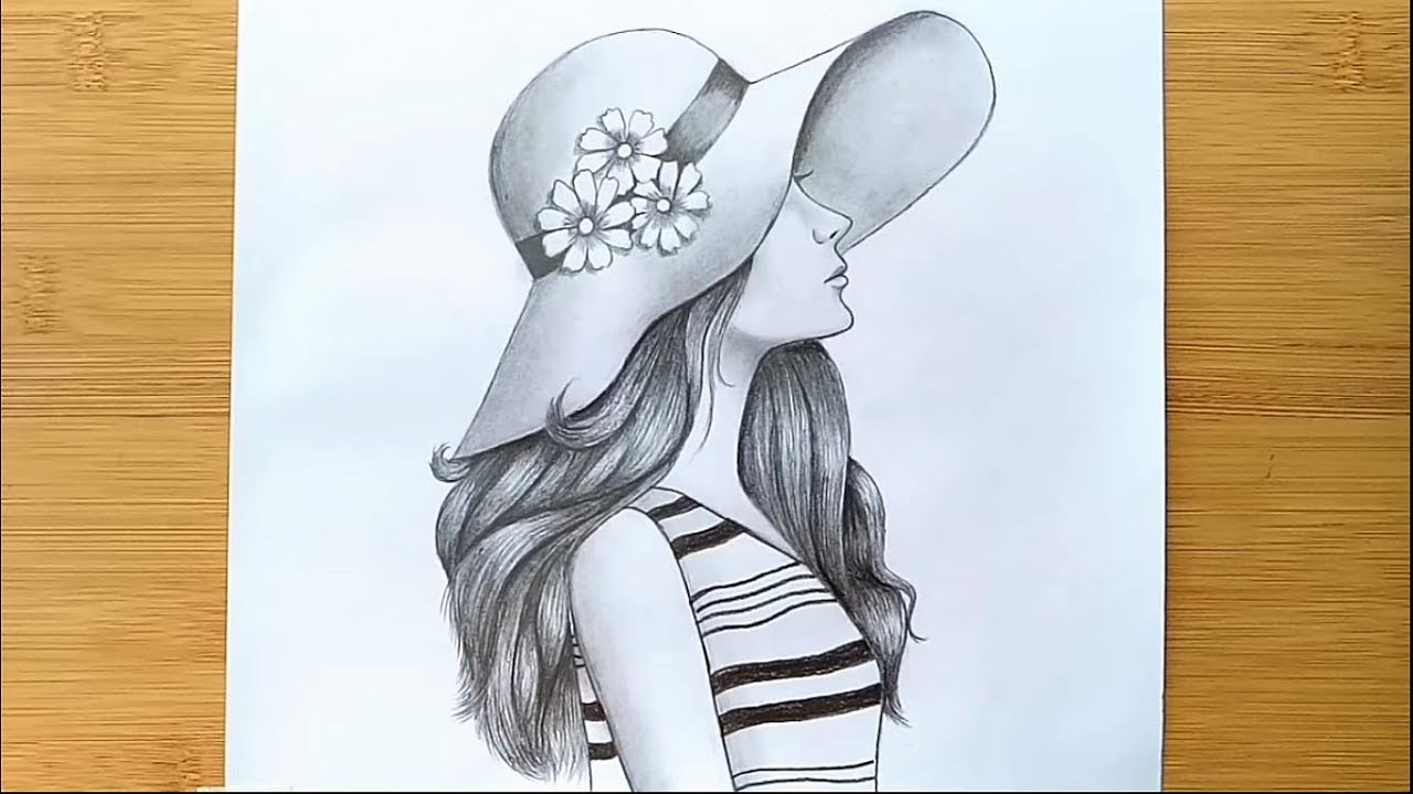 How To Draw A Girl With Hat For Beginners Step By Step Pencil