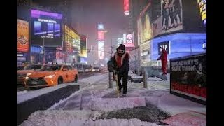 Times Square walking in Snowstorm Bomb Cyclone - New York City
