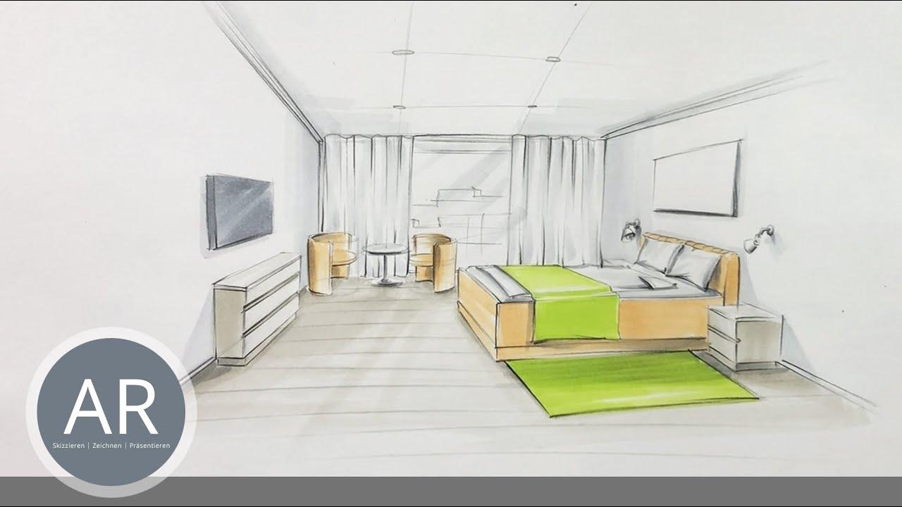 Profi Kurs Perspektivisches Zeichnen für Interior Designer –Teil  21/21.Skizzen mit Markern kolorieren