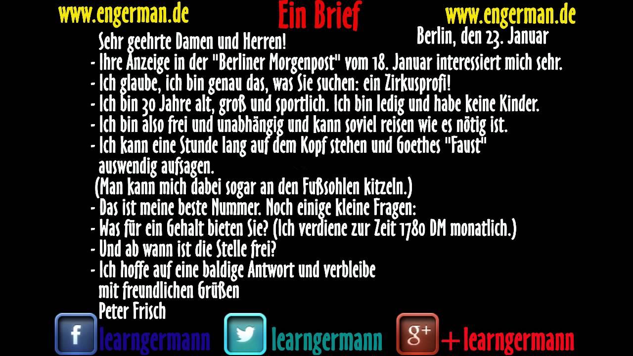 Deutsch Lernen Ein Brief Youtube