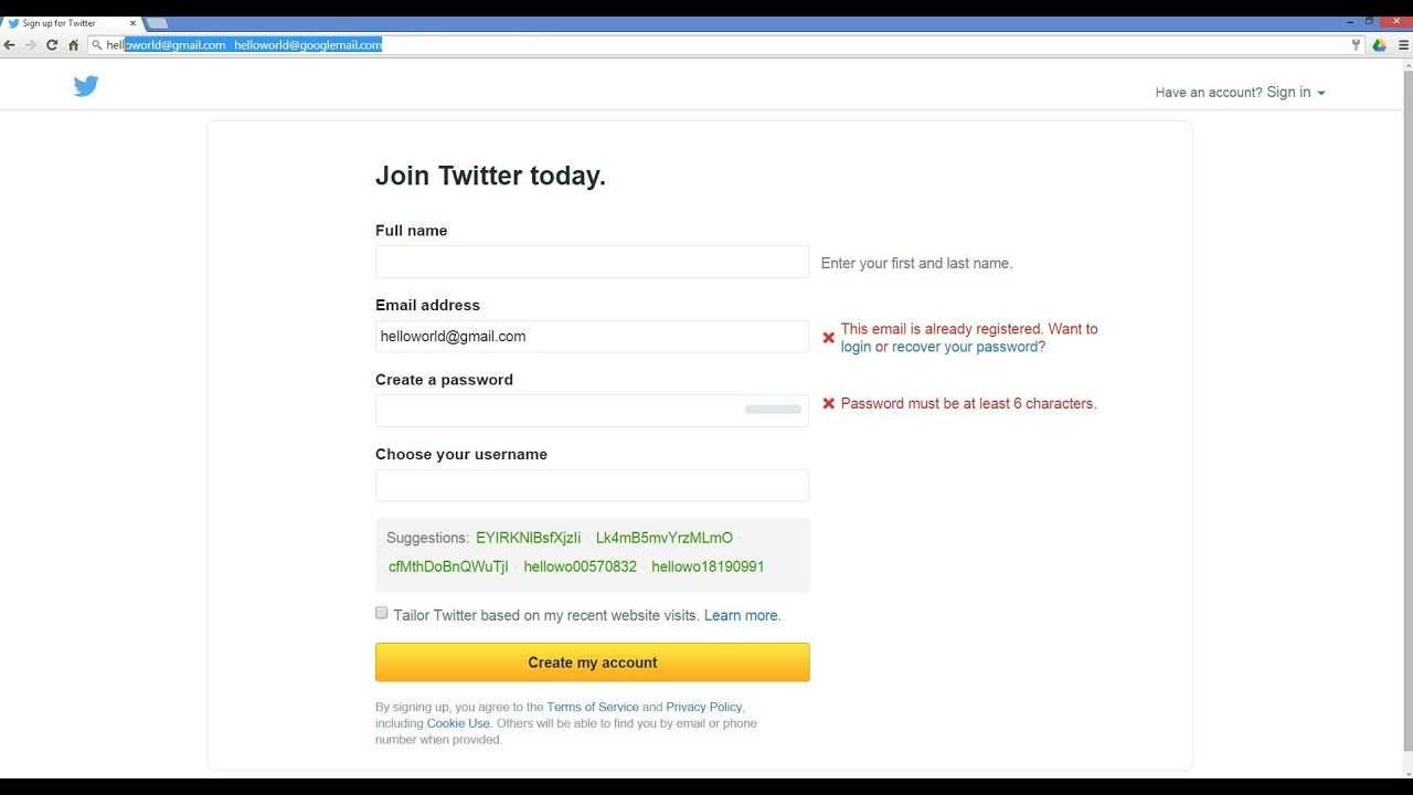 How to create multiple twitter accounts w one email for Acc email